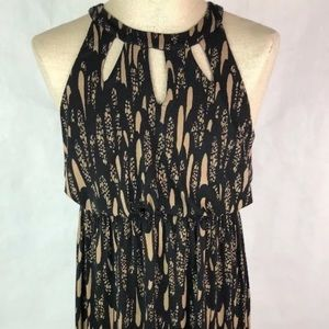 Soma Maxi Dress M Black Tan Sleeveless Long